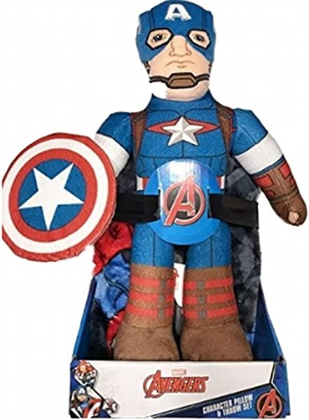Marvel Avengers Captain America Character 2 Piece Pillow Plush And Throw Set