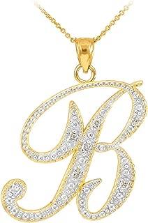 14k Yellow Gold Diamond Script Initial Letter B Pendant Necklace