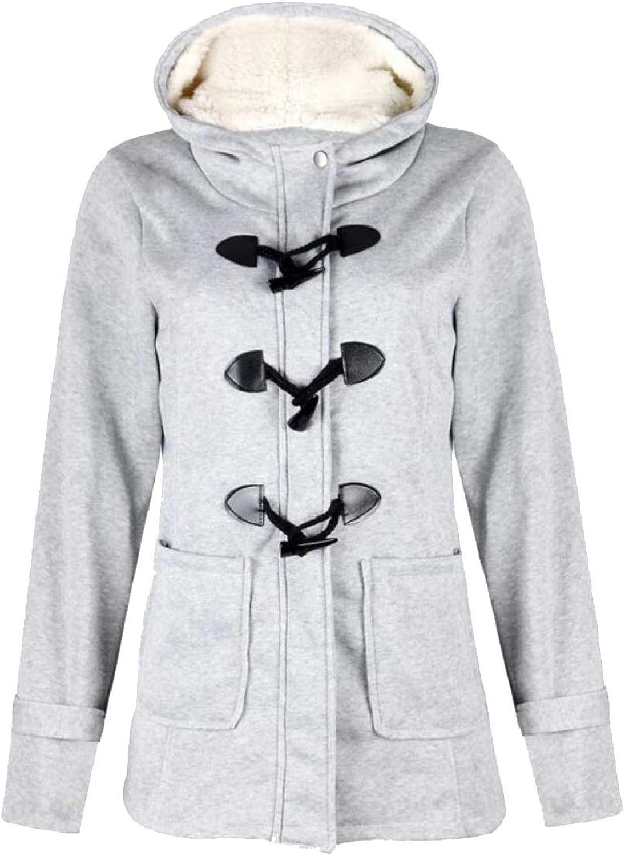 PandapangCA Women Hoody Toggle Thicken Basic Pocket Fleece Overcoat Wool Blend Coat Jacket