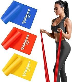 Bandas Elasticas Fitness[Set de 3] 1.5M /1.8M /2M,Cintas Elasticas con 3 Niveles de Resistencia, Pilates, Crossfit, Estiramientos, Musculacion, Piernas, Brazos, Fuerza
