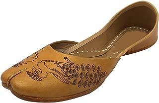 Women Casual Plain Ballet Comfort Flat Shoes Peacock Artwork Khussa Mojari