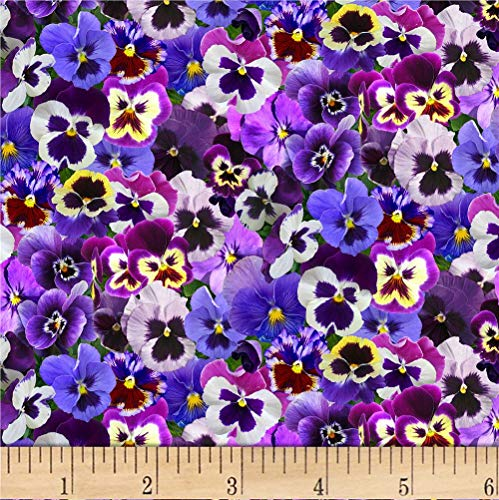 Elizabeth Studios Lovely Pansies Purple Quilt Fabric by the Yard, Purple