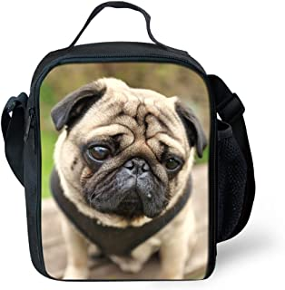 Summeridea Adorable Pug Dog Printed Kids Lunch Bag Insulated Children Lunchbag Cooler Box Thermal Lunchbox Tote with Water Bottle holder