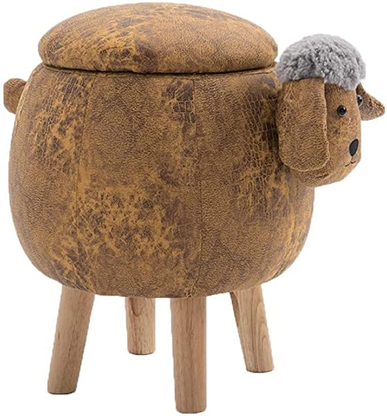 Carl Artbay Wooden Footstool Creative Solid Wood Ball Lamb Designer Furniture Home Storage Fabric Lamb Home Color Storage