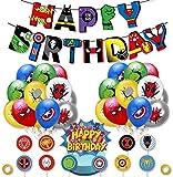 BlinBlin - Juego de 38 piezas de decoración para fiesta de cumpleaños de superhéroe, superhéroe Vengadores, suministros de fiesta, pancarta de...