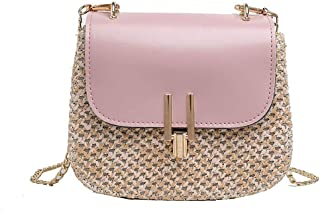 Wultia - Women Straw Bag Handbags Women Summer Rattan Bag Handmade Woven Beach Circle Bohemia Handbag New Fashion #G8 Pink