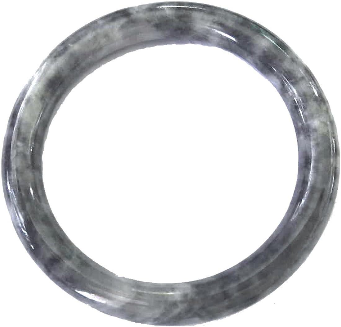 Karatgem Jewelry Natural Black Grayish Jadeite Jade Bangle Bracelet 55-66mm Inner Ship from US Warehouse