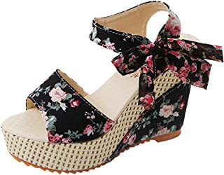 Chaussures Femmes Plateforme Compensées Sandales À Talons Fleur Fleurie Chaussures À Lacets