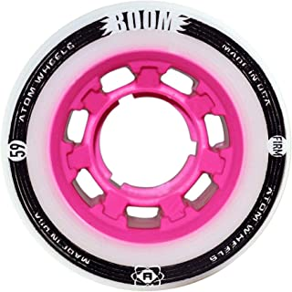 ATOM Boom Nylon Solid Core Quad Roller Skate Wheels - Available in 59x38 or 62x44 sizes and 3 hardnesses (Firm, X-Firm, XX-Firm) (Pink - Firm, 59mm - 4 pack)