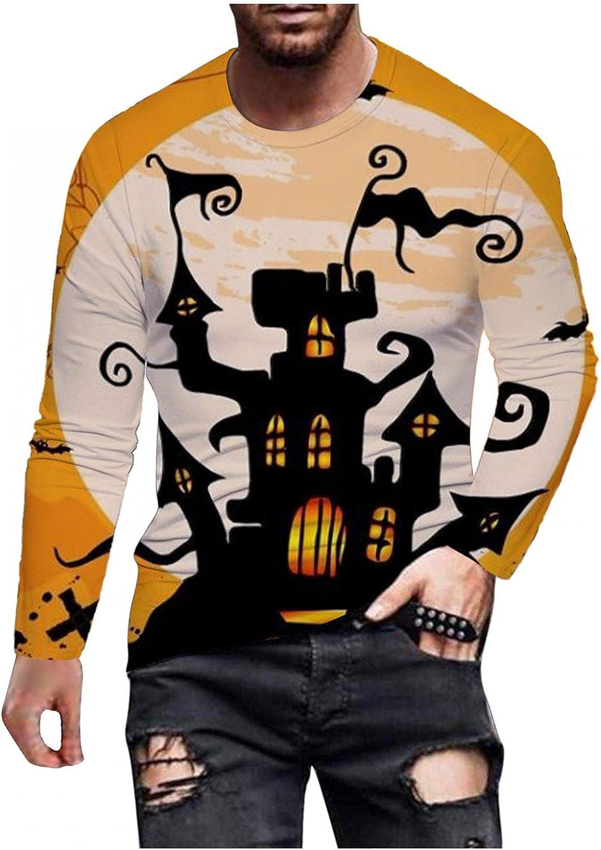 Aayomet Long Sleeve Tee Shirts for Men Halloween Funny 3D Digital Printed Shirts Casual O-Neck Mens Tops Shirts