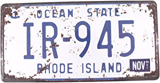 6x12 Inches Vintage Feel Rustic Home,bathroom and Bar Wall Decor Car Vehicle License Plate Souvenir Metal Tin Sign Plaque (RHODE ISLAND IR-945)