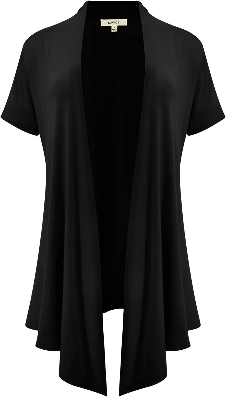 LUVAGE Short Sleeve Draped Open Front Long Cardigans for Women - Irregular, Asymmetrical Hem