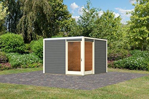 Unbekannt Karibu Gartenhaus Cubus Eck 2 terragrau 28 mm