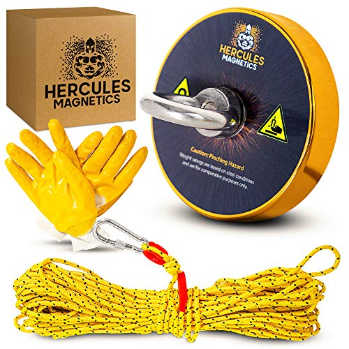 Hercules Magnetics Magnet Fishing Kit – 900Lbs Fishing Magnet with 100ft Nylon Rope with Carabiner – Ultra-Powerful Magnets with Rope – Triple-Layer Ni-Cu-Ni Coating – Unique Gold Color