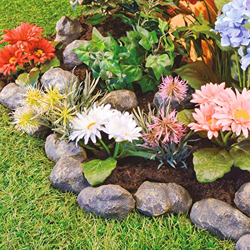 Burwells 14 Piece Stone Effect Plastic Garden Edging - Hammer-In Lawn Pebble Border/Rockery