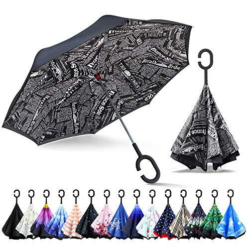 ZOMAKE Inverted Stockschirme, Innovative Schirme Double Layer, Winddicht Regenschirm, Freie Hand,Umgedrehter Regenschirm mit C Griff für Auto Outdoor (Schwarze Zeitung)