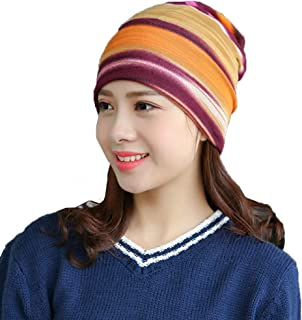 Thsinde Colorful Stripes Chemo-Hat Slouchy-Beanie for Women Cancer Sleep Caps