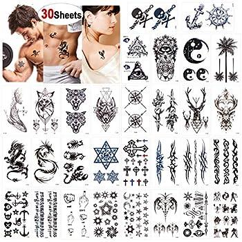 Konsait Temporary Tattoos for Adult Men Women Kids 30 Sheets  Waterproof Temporary Tattoo Fake Tattoos Body Art Sticker Hand Neck Wrist Cover Up Set Dragon Anchor Scorpion Wolf Graphic Elk