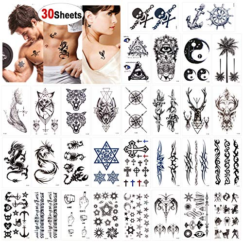 Konsait Temporary Tattoos for Adult Men Women Kids(30 Sheets), Waterproof Temporary Tattoo Fake Tattoos Body Art Sticker Hand Neck Wrist Cover Up Set, Dragon Anchor Scorpion Wolf Graphic Elk