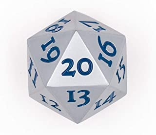 Extra Large Solid Metal D20 Spindown / Countdown Dice Silver Life Counter for MTG Magic The Gathering Commander EDH Extra Heavy