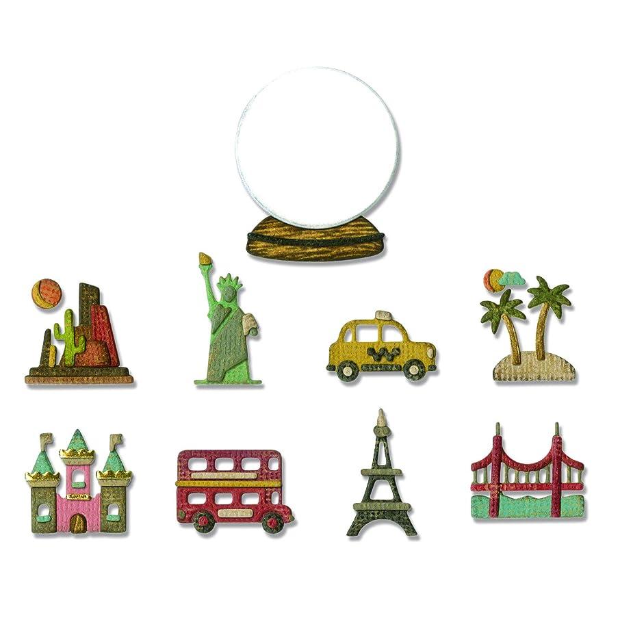 Sizzix 664182 Tiny Travel Globe Dies, Multicolor