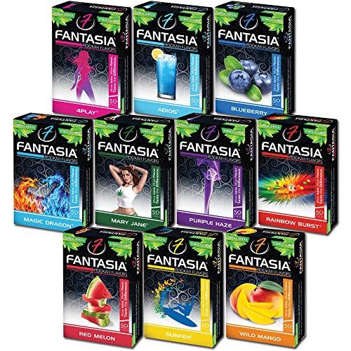 Fantasia Herbal, Hookah Shisha Flavors, Tobacco & Nicotine Free, Fruit Variety Pack, 50-Gram (Pack of 10) F10