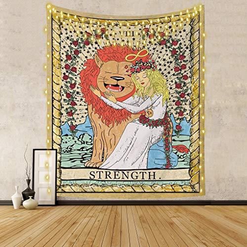 Yumisko Tarot Wall Tapestry, Bravely Girl Appeasing Lion Tapestry Medieval Europe Divination Tarot Tapestry for Bedroom Home Decor (150 x 200 CM)