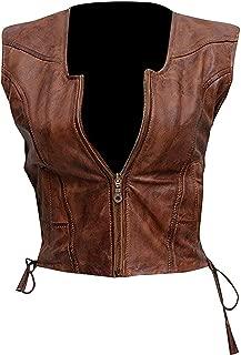 Brown Biker Vest for Women Genuine/Faux Leather