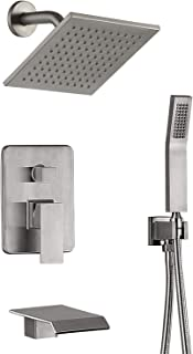 Shower Faucet Set Rain Showerhead Handheld Shower Waterfall Bathtub Spout Included Nickel Brushed Black Multi Function ALL BRASS Shower Fixtures (Nickel Brushed)