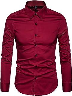 قمصان رسمية للعمل مصنوعة من القطن بمقاس نحيف وتصميم كاجوال باكمام طويلة وازرار في الياقة من مانوان واك