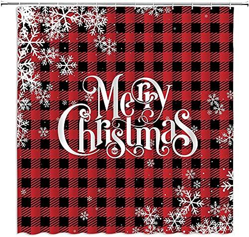 lovedomi Feliz Navidad rojo negro búfalo a cuadros blanco copo de nieve bola de Navidad invierno vacaciones temporada país vacaciones impresión 3D cortina de ducha impermeable poliéster 12 ganchos