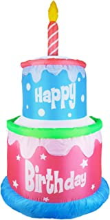 MUMTOP 6 Foot Inflatable Happy Birthday Cake with 1 Candles Outdoor Indoor LED Lights, Giant Lawn Inflatable Home Garden P...