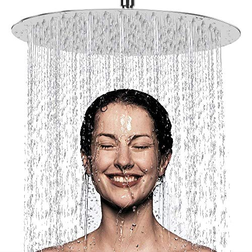 PESCA Stainless Steel 12 inch Shower, Silver, Polished Finish
