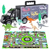 iBaseToy Dinosaur Transport Car Carrier Truck Toy, 19 Pieces Dinosaur Truck Carrier with Dinosaurs Toys and Car Toys Inside for Kids Toddlers Boys Girls Ages 3, 4, 5, 6, 7 Years Old