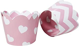 Pink Hearts/Chevron Cupcake Wrappers for Valentines,Baby or Bridal Showers, Weddings, Bachelorette, Princess or Girl Birthday Party. Set of 24 Reversible, Adjustable Cup Cake Holder Wraps. White, Pink