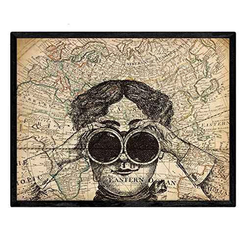 Nacnic Lámina para enmarcar Prismáticos en el Mundo Pósteres Decorativos. Papel 250 Gramos