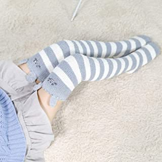 miwaimao, Medias de niña simpáticas animales, hasta la rodilla, a rayas, Kawaii, largas, gruesas, calcetines calientes, talla única