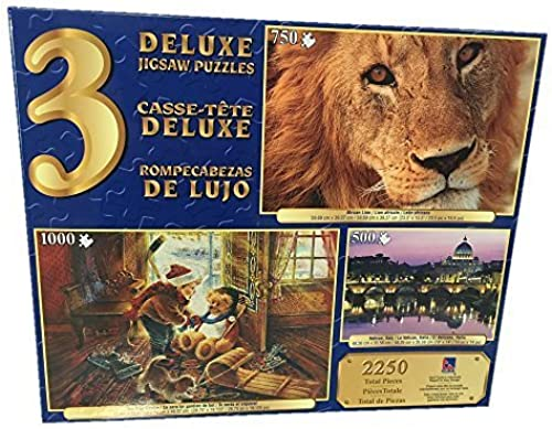 Sure-Lox 3 Deluxe Jigsaw Puzzles  Vatican, , African Lion and You Play Goalie by Sure-Lox