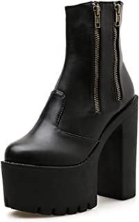 Women Ankle Leather Boots Ultra High Platform Heels Black High Heels Shoes Rubber Sole Shoes