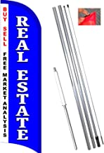 Real Estate Windless Feather Flag Bundle (11.5' Tall Flag, 15' Tall Flagpole, Ground Mount Stake)