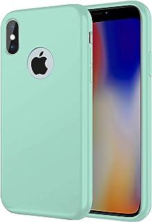 """TBOC Hoesje voor Apple iPhone X - iPhone XS [5.8""""]- Stijf Bedekking [Turkoois] Premium Vloeibare Siliconen [Zachte Aanraki..."""