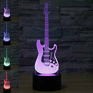 MOLLY HIESON 3D Electric Guitar Night Light Music Note Touch Switch Decor Table Desk Optical Illusion Lamps 7 Color Changing Lights LED Table Lamp Xmas Home Love Brithday Children Kids Decor Toy Gift