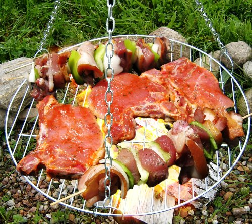Grille de cuisson, grill, grille, ersatzgrill, ersatzrost, bLACK kNIGHT bARBECUES grille de gril ronde kaminrost traditionnel barbecue rond avec chaîne 60 cm