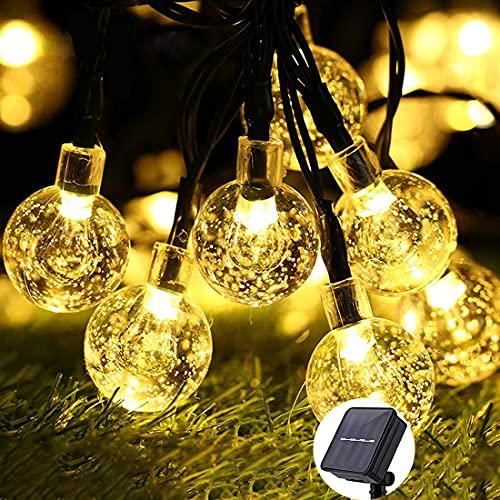 Cadena de Luz Solar con 30LED Globos de 6.5M para Exteriores, Guirnalda de Luces Led Impermeable con 8 Modos de Luces, Decoración...