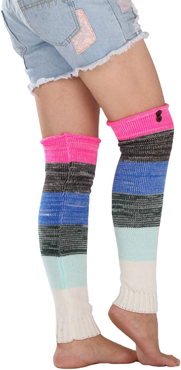 Women girls multicolor knitted leg warmers warm boot socks with buttons TTD004