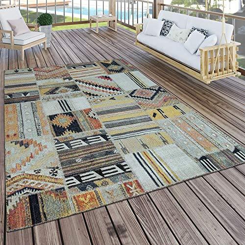 Paco Home In- & Outdoor Teppich Modern Ethno Muster Terrassen Teppich Wetterfest Bunt, Grösse:200x280 cm