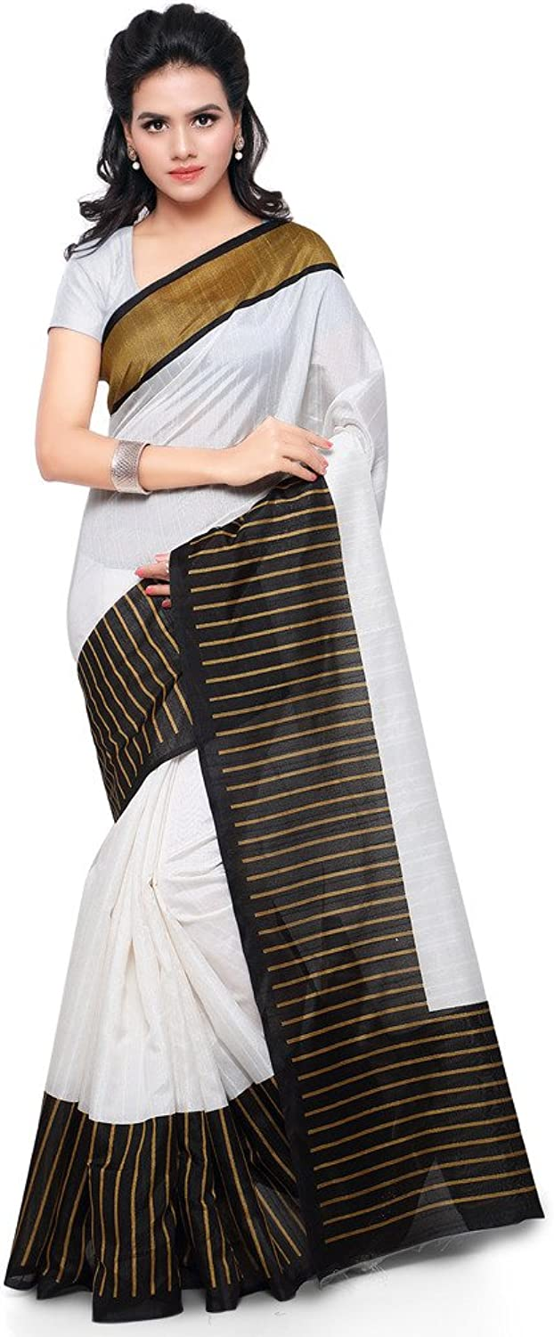 Applecreation Tassar Silk Saree (Hs2003_OffWhite)