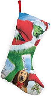 ANGEL P How The Grinch Stole Christmas Christmas Stockings, Large DIY Xmas Holiday Fireplace Hanging Decoration Gifts, for Family Holiday Home Decor Xmas Party Decorations 10 Inch