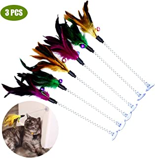 Cat Teaser Wand, 3 Packs Update Metal Wire Spring Cat Toy with Feather and Bell Sucker Cat Teaser Rod Interactive Cat Tease Toys