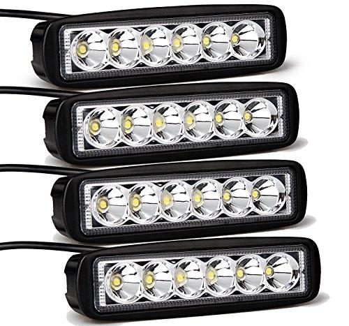 LED作業灯 ポーペ(POOPEE) 18W BAR型 6連 LEDワークライト ヘットライト アウトドア 屋外作業 トラック用品 車外灯 高輝度 狭角 12V〜24V対応 高品質 防水防塵 4個セット